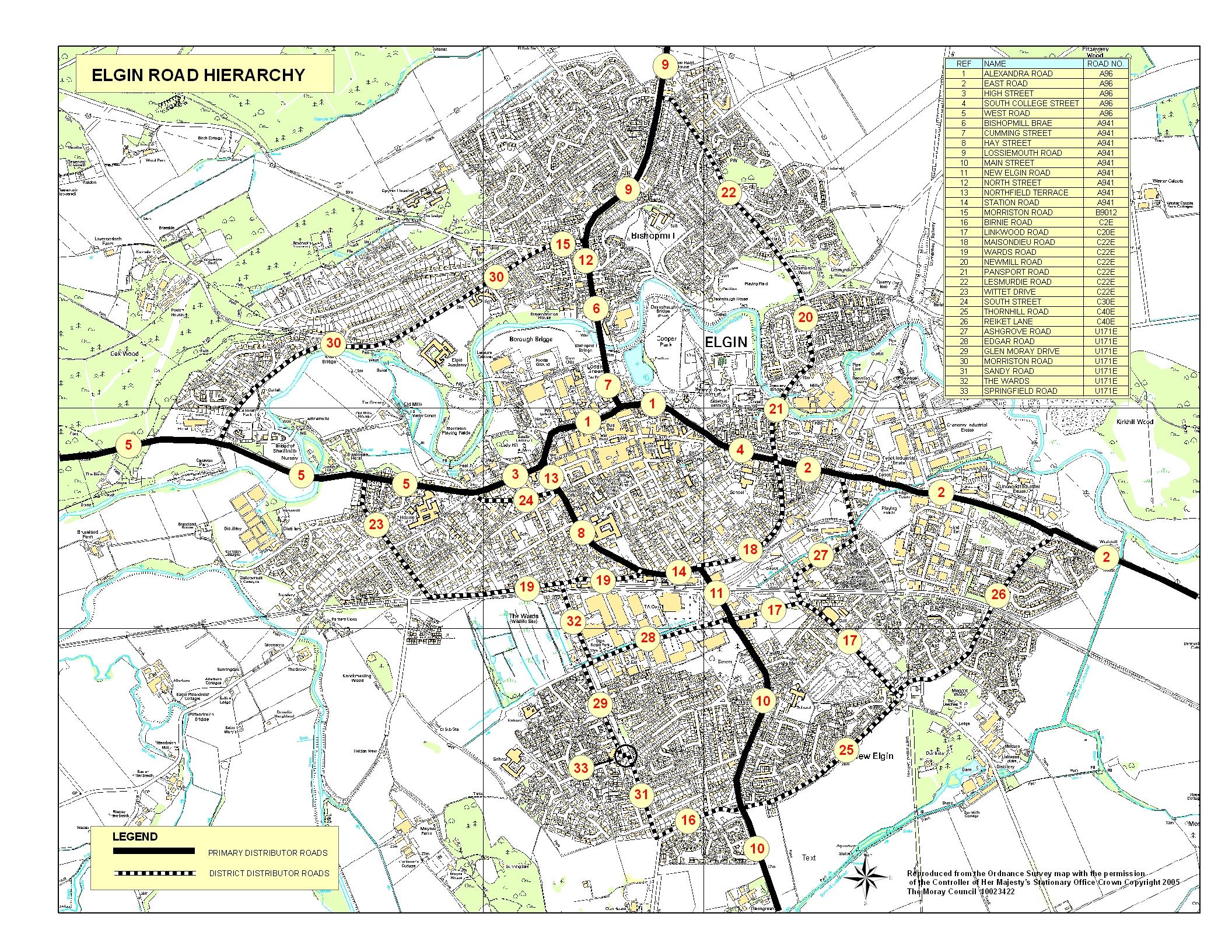 Elgin Road Hierarchy Moray Council