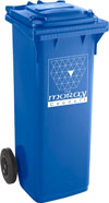 A blue bin for all paper and card products