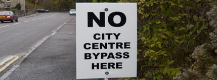 Image showing No city Centre Bypass sign