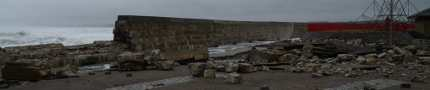 Partial collapse of sea walls at Station Park Lossiemouth - Copyright Stuart Crowther